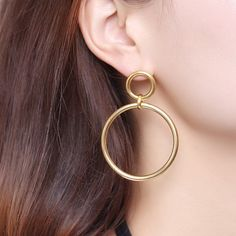 Amazon.com: MengPa Large Round Drop Earrings for Women Hoop Jewelry Stainless Steel Gold-color: Jewelry