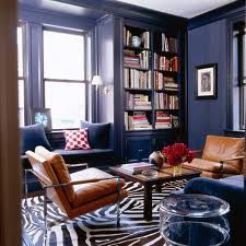 Could this be my future library?  A zebra rug and bookshelves to the ceiling... maybe it could be!  Painted plum instead of this crazy color, though.