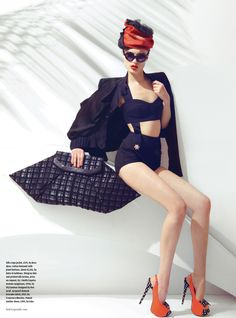 Naty Chabanenko Dons Retro Swimwear for How to Spend It Magazine by Kevin Sinclair
