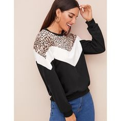 Leopard Contrast Colorblock Sweatshirt✨ Price: 20 jd XS S M L ✨  Fashion Line, Fashion News, Hijab Fashion, Fall Fashion, Casual Fall, Types Of Sleeves, Color Blocking, Pullover, Sweatshirts