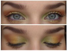 they used green,yellow,orange and shimmer nude. <3