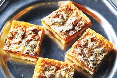 Rum Raisin Butter Tart Squares  The topping on these squares forms a delicate crust, so do not overbake them or the top will crack. To make cutting easy, refrigerate until firm and then cut into squares.
