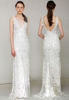 Monique Lhuillier 2011 Spring/Summer wedding dress collection  -  Chandler - ivory embroidered chiffon v-neck sheath bridal gown