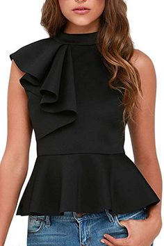 Shop a great selection of Shawhuwa Womens Sexy Asymmetric Ruffle Side Peplum Top Clubwear. Find new offer and Similar products for Shawhuwa Womens Sexy Asymmetric Ruffle Side Peplum Top Clubwear. Jeans Flare, Black Peplum, Mode Chic, 2000s Fashion, Women's Fashion, Fashion Tips For Women, Clubwear, Blouses For Women, Women's Blouses