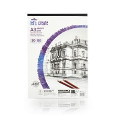 Wilko A3 Sketch Pad 30 Sheets 80gsm