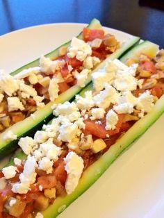 Feta and vegetable stuffed zucchini