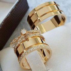 Diamond Wedding 14K Yellow Gold Trio His And Her Bridal Band Engagement Ring Set #bacio2jewels #WeddingAnniversaryBirthdayEngagementPartyGift