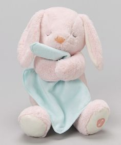 Another great find on #zulily! Light Pink Bunny Cuddly Lullaby Soother Plush Toy #zulilyfinds