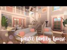 Modern Family House, Family House Plans, Two Story House Design, Small House Design, Giraffe Drawing, Pastel Bedroom, Pastel Interior, Pastel House, Roblox Codes