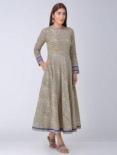 Beige-Black Block-printed Flared Cotton Dress