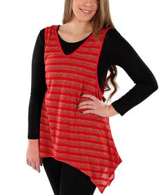 Take a look at this Red Metallic Striped Sleeveless Tunic - Plus by Lily on #zulily today! $38 !!