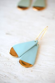From IAMTHELAB.com: Blue Drop Porcelain And Gold Earrings #Earrings