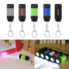 1pcs Portable Mini Keychain Pocket Torch USB Rechargeable Light Flashlight Lamp