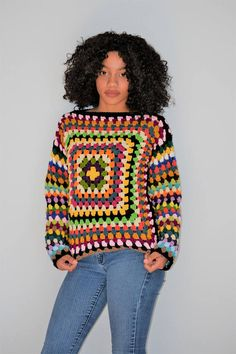 US Women's size Medium - Large Granny square Pullover/ Large-XL Multicolored Granny Square Sweaer Handgestrickte Pullover, Pullover Sweaters, Knitting Paterns, Hand Knitting, Crochet Granny, Crochet Top, Granny Square Sweater, Large Granny, Granny Square Projects