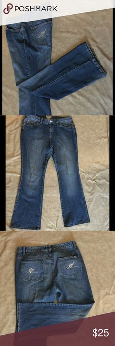 """Michael Kors Jeans Flare/wide legged Michael Kors """"retro"""" jeans with bling """"M"""" on back pockets. Just like some shirts come with replacement buttons, these jeans  had a small packet of 5 tiny crystals to replace if they ever came off.  I used 2 of the crystals and  longer have the packet. 💎 Size 10 but could easily fit a size 12 too. Michael Kors Jeans Flare & Wide Leg"""