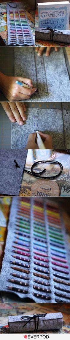 Organizador de lápis ou agulhas em feltro