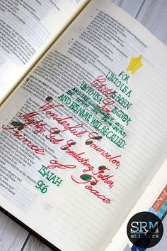 SRM Stickers: Christmas Bible Journaling of Isaiah 9:6. Check out the trick for creating pretty handwriting. @susan_mcshirley