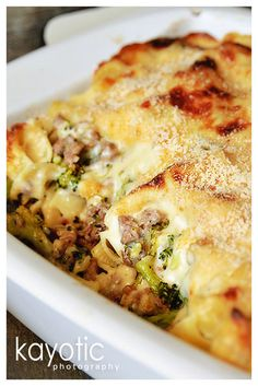 """Kayotic Pasta Gratin - """"When I want to make the men in my life happy, I cook this. Okay, so it kinda makes me happy, too."""""""