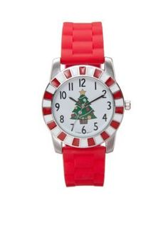 Kim Rogers  Womens Red Rubber Strap Watch