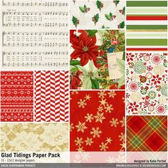 Glad Tidings Paper Pack christmas patterned papers for instant download #designerdigitals