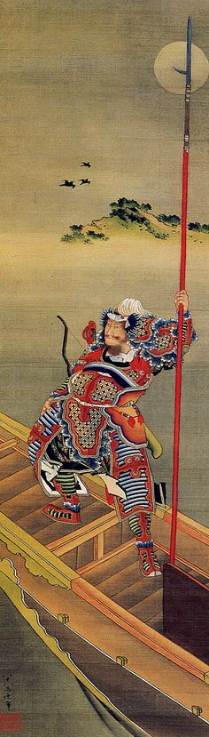 """""""General Cao Cao before the battle off Chibi"""" 1847, hanging scroll, ink, paint on silk Katsushika Hokusai Museum of Art"""