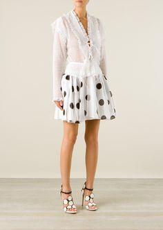Azzedine Alaïa cotton-poplin dots pleated skirt