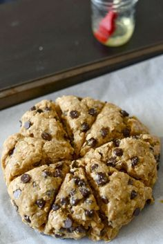 Oatmeal Peanut Butter Chocolate Chip Scones. OMG, I don't know if it's a cake or a giant cookie. #chocolates #sweet #yummy #delicious #food #chocolaterecipes #choco