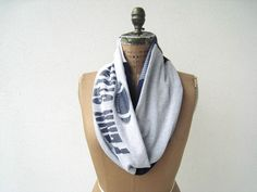 Penn State T Shirt Infinity Scarf / Gray Navy Blue White by ohzie