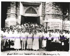 """On August 31, 1917, Madam C. J. Walker hosted the first national convention of her Walker """"beauty culturists"""" at Philadelphia's Union Baptist Church. More than 200 women from all over the United States gathered to learn about sales, marketing and management at what was one of the earliest professional gatherings of American women entrepreneurs."""
