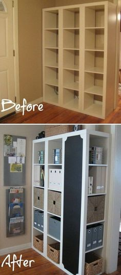 Bookshelf Command Center. Turn the Ikea Expedit shelves into family's command center with a bit of wood working skills! It is perfect for organizing keys, mail, files and crafts for your home.