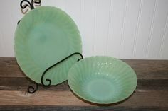 """Gorgeous Fire King Jadeite Shell 10""""  Dinner Plate and 8"""" Vegetable Bowl by UdellLane on Etsy"""