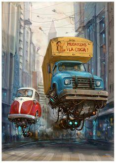 Turbo-Reactive Diesel-Punk: Flying Retro Cars By Alejandro Burdisio Auto Illustration, Science Fiction Kunst, Illustrator, Flying Car, Sci Fi Art, Dieselpunk, Steampunk Airship, Futuristic, Fantasy Art