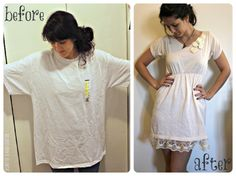 From a XL tee-shirt to a dress! She has tons of tshirt tutorials on her website! :)