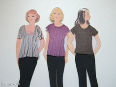 Vintage paper dolls with contemporary outfits cut from magazines.