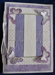 Wedding card ~ dry embossing, punches, chalk swirled background paper, ribbon and pearls ~ by D.Perenick