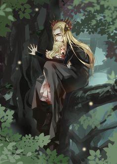 Thranduil and little Legolas (mother dying ? Fanart, Legolas Et Thranduil, Character Inspiration, Character Art, Mirkwood Elves, John Howe, O Hobbit, Familia Anime, Dark Art