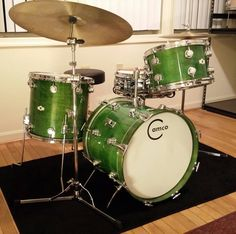 Simple Camco drumkit in lime or apple #green with large Crash cymbal... all the basics for making fun sounds! #cSw:) - DRUMMER DRUMMING - nice #drums pinned via Bob Debbie Carr's #Pinterest board.