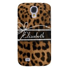 Trendy chic girly faux brown black leopard animal galaxy s4 case