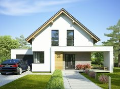 Arystoteles - zdjęcie 2 Country House Plans, Modern House Plans, Small House Design, Modern House Design, House Structure Design, Modern Bungalow Exterior, Roof Design, Facade House, House Layouts