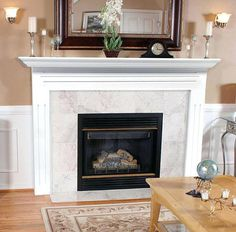 Featuring clean lines and a simple design, the Pearl Mantels Newport Wood Fireplace Mantel Surround is constructed of durable MDF wood, a strong,. Fireplace Surround Kit, Stone Fireplace Mantel, Concrete Fireplace, White Fireplace, Rustic Fireplaces, Farmhouse Fireplace, Living Room With Fireplace, Fireplace Surrounds, Fireplace Design