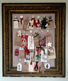 I switched out the elements on an autumn inspiration board I made years ago...now it's all about Christmas!Here are some closer-ups...I love all the little details of the holidays. Well any details of the creative kind, that's what I love.And I think I'm going to love having this board…