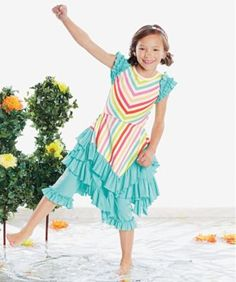 girls taffy stripes spring flair dress set - only at chasing fireflies - A new season is coming, and flair is in the air! This totally twirlable dress with ruffles and a handerchief hem looks even cuter when worn over the ruffled leggings.