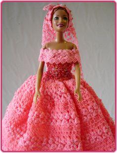Barbie Clothes Peach Dress With Veil Crocheted Handmade