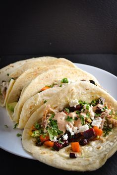 Roasted Root Vegetable and Chicken Tacos with Chili Mayo | Things I Made Today
