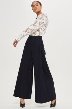 Navy wool wide leg trousers with side pleat detail made in Britain by Boutique.