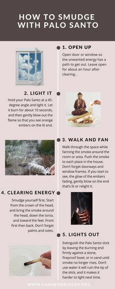 How to Clean Your Home, Body and Spirit with Palo Santo 6 ways to use palo santo. Learn all about Palo Santo and its wild oil, resin and incense and why it has become increasingly popular. Smudging Prayer, Sage Smudging, Spiritual Cleansing, Energy Cleansing, Meditation, Smudge Sticks, Natural Healing, Natural Remedies, Herbalism