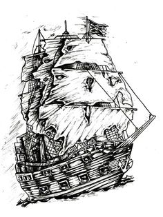 Pirate Ship pen and ink on bristol board