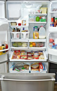 When organizing your refrigerator and freezer, the key is keeping like items together so you can find what you need.