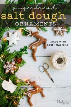 Gingerbread salt dough ornaments that look and smell like gingerbread cookie cutouts! Fast, easy and make with essential oils. #youngliving #essentialoils #gingerbread #saltdough #diyornaments