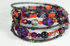 this fun and funky memory wire bracelet is just bursting with colour.